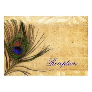 Rustic Peacock Feather wedding reception invite Large Business Card