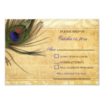 Rustic Peacock Feather wedding rsvp 3.5 x5 Card