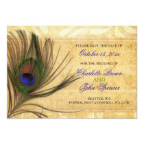 Rustic Peacock Feather wedding save the date Card