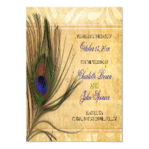 Rustic Peacock Feather wedding save the date Magnetic Card