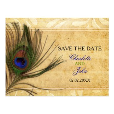 Rustic Peacock Feather wedding save the date Postcard