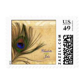 Rustic Peacock Feather wedding stamps
