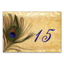 Rustic Peacock Feather wedding table numbers Card