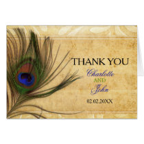Rustic Peacock Feather wedding Thank You Card