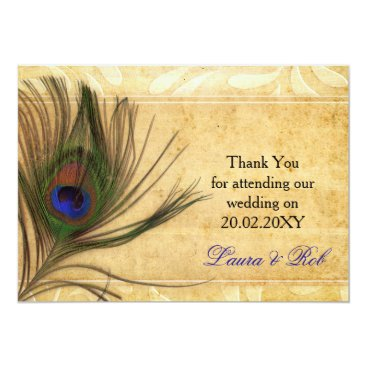Rustic Peacock Feather wedding  Thank You cards