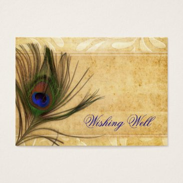 Rustic Peacock Feather wedding wishing well Business Card