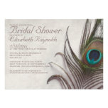 Rustic Peacock Feathers Bridal Shower Invitations Custom Announcements