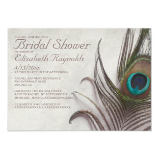 Rustic Peacock Feathers Bridal Shower Invitations