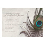 Rustic Peacock Feathers Wedding Invitations Custom Announcements