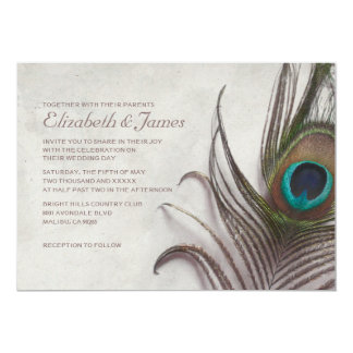 "Rustic Peacock Feathers Wedding Invitations 5"" X 7"" Invitation Card"