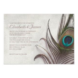 Rustic Peacock Feathers Wedding Invitations