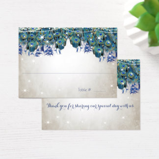 Rustic Peacock Navy Rustic Luxe Place Cards