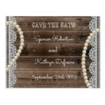 "Rustic Pearls & Lace ""Save the Date"" Wedding Postcard"