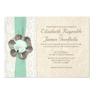 Rustic Pearls Wedding Invitations