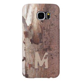 Rustic Peeling Wood Tree Bark Monogram Samsung Galaxy S6 Cases