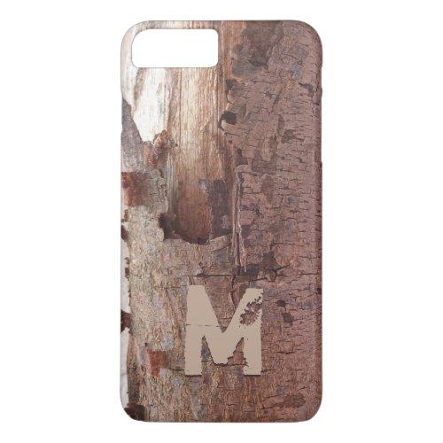 Rustic Peeling Wood Tree Bark Monogram Phone Case