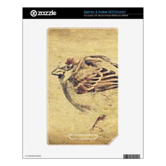 Rustic pencil sketch of a wild bird decals for the NOOK color