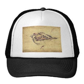 Rustic pencil sketch of a wild bird trucker hat
