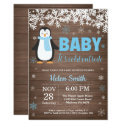 Rustic Penguin Winter Boy Baby Shower Invitation