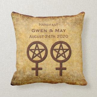Rustic Pentacle Lesbian Handfasting Gift Pillow