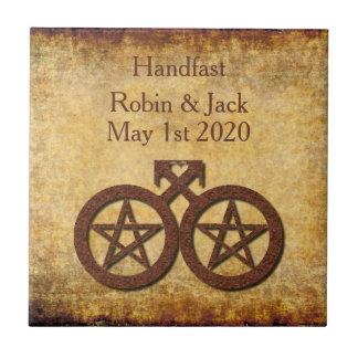 Rustic Pentacle Pagan Gay Handfasting Gift Tile
