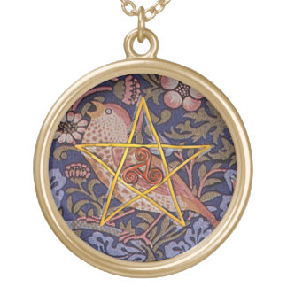Rustic Pentagram & Triple Spiral w/ Bird-Necklace Gold Plated Necklace