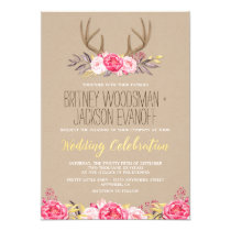 Rustic Peony and Deer Antler Wedding Invitations