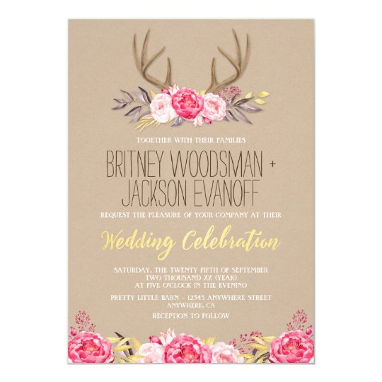 Rustic Peony And Deer Antler Wedding Invitations