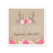 Rustic Peony and Deer Antler Wedding Napkins