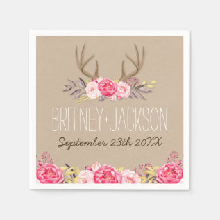 Rustic Peony And Deer Antler Wedding Napkins at Zazzle