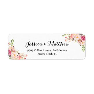 Rustic Peony Floral Personalized Wedding Label