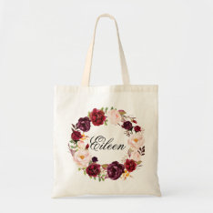Rustic Peony Floral Wreath Wedding Welcome Tote Bag at Zazzle