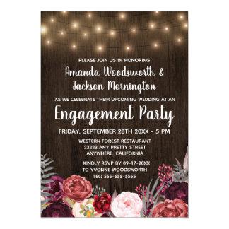Rustic Peony Marsala Engagement Party Invitations