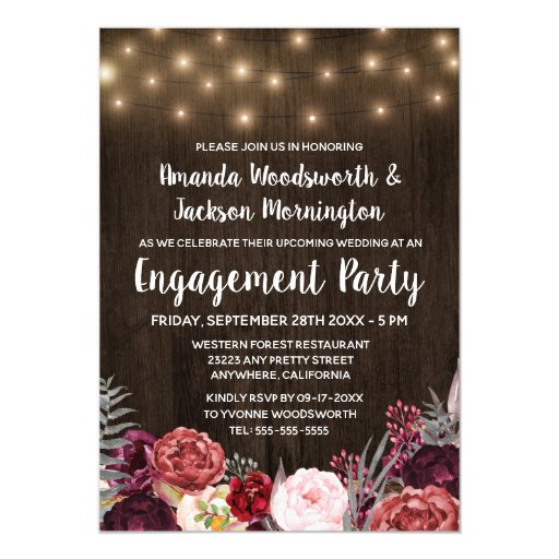 Rustic Peony Marsala Engagement Party Invitations