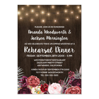 Rustic Peony Marsala Rehearsal Dinner Invitations