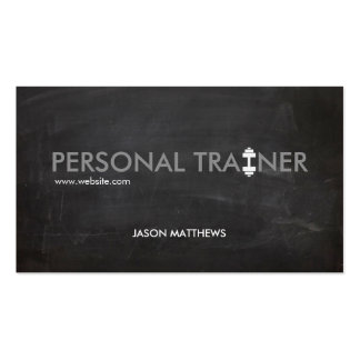 Rustic Personal Trainer Dumbbell Logo Fitness Double-Sided Standard Business Cards (Pack Of 100)