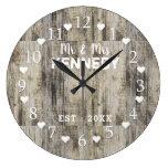 Rustic Personalized Brown Barn Wood Wedding Large Clock