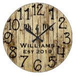 Rustic Personalized Brown Wood Custom Large Clock