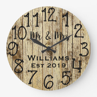 Rustic Personalized Brown Wood Custom Large Clock