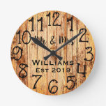 Rustic Personalized Brown Wood Custom Round Clock