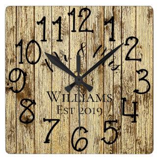 Rustic Personalized Brown Wood Custom Square Wall Clock