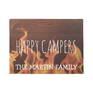 Rustic Personalized Camping Campfire Happy Campers Doormat