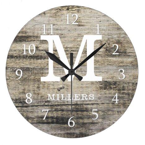 Rustic Personalized Farmhouse Wood Monogram Large Clock