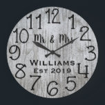 "Rustic Personalized Gray Wood Custom Large Clock<br><div class=""desc"">Beautiful, unique, one-of-a-kind personalized design features a black personalized his and her names in a script font overlay design and the last name and year established in a bold script with a gray wood background. Personalize this clock by adding your personal information. Makes a great wedding, anniversary, or housewarming gift....</div>"