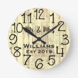 Rustic Personalized Teal Distressed Wood Custom Round Clock