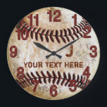 """Rustic Personalized Vintage Baseball Wall Clocks<br><div class=""""desc"""">2 Text Boxes for Personalized Rustic Vintage Baseball Wall Clocks with 2 (* * TWO * * ) Text Boxes for your MONOGRAM or JERSEY NUMBER and NAME or Text or Delete temporary text. Very cool faux Vintage Baseball Wall Clock with Jersey NUMBER and NAME, Team Name or Your Text...</div>"""