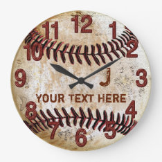 Rustic Personalized Vintage Baseball Wall Clocks at Zazzle
