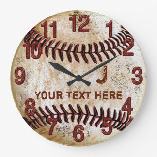 Rustic Personalized Vintage Baseball Wall Clocks