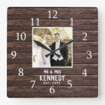 Rustic Personalized Wedding Anniversary Wood Photo Square Wall Clock