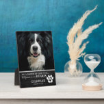 "Rustic Pet Forever in Our Hearts | Photo Keepsake Plaque<br><div class=""desc"">A pet memorial plaque featuring a wonderful photograph of your beloved family dog or cat on a rustic black wooden background. Scripted is a sweet sympathy quote reading 'No longer by our side,  but forever in our hearts',  their name,  date and a pawprint with a heart.</div>"